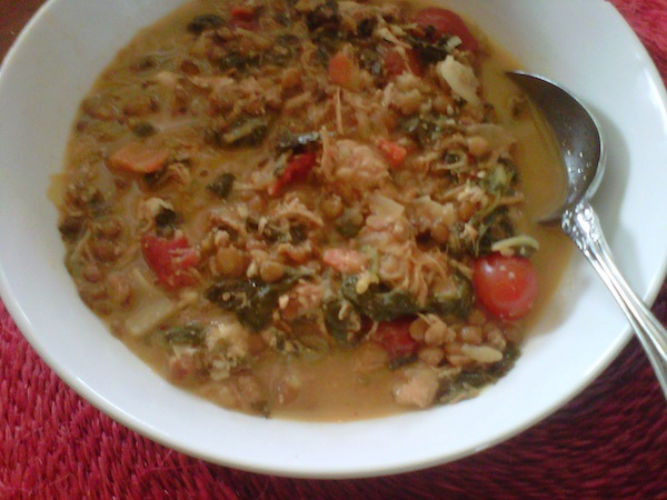 minestra with lentils and spinich